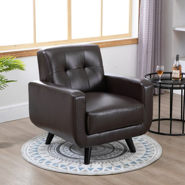 HOMCOM Single Armchair Cushion Padded Sofa Chair Wooden Seat with Armrest Living Room Furniture Brown | Aosom Canada