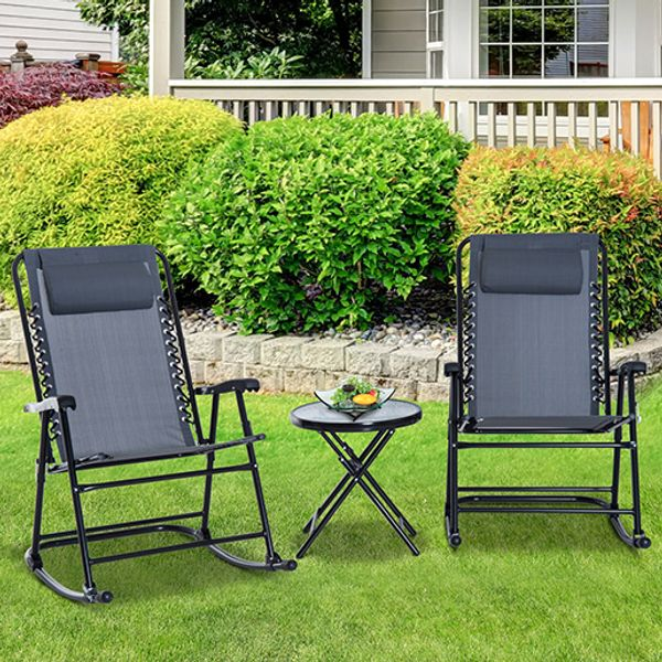 Outsunny 3 Piece Outdoor Rocking Chair Patio Table Seating Set Rocker Bistro Sling Mesh Lounger Coffee Desk Grey AOSOM.CA