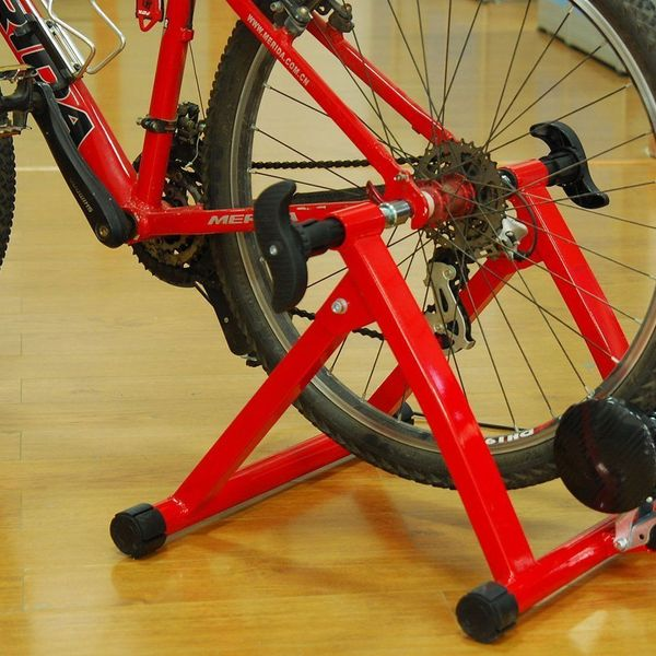 Soozier Magnetic Bike Trainer Stand Foldable Indoor Bicycle Exercise w/ 5 Levels of Resistance Sturdy Steel Frame Red | Aosom Canada