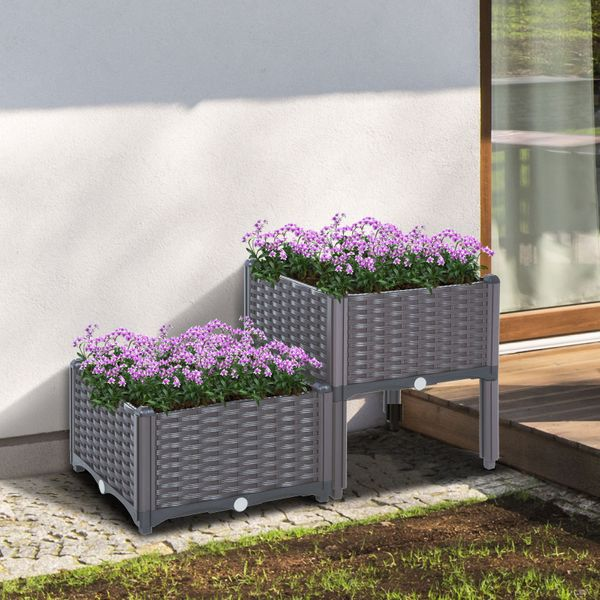 Outsunny 2-piece Raised Flower Bed Vegetable Herb Planter Lightweight