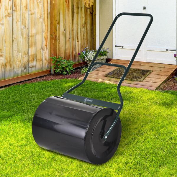 Outsunny Lawn Roller Push Tow Water Sand Filled 60L Equipment Manual Push Rolling Drum Heavy Duty Garden|AOSOM.CA