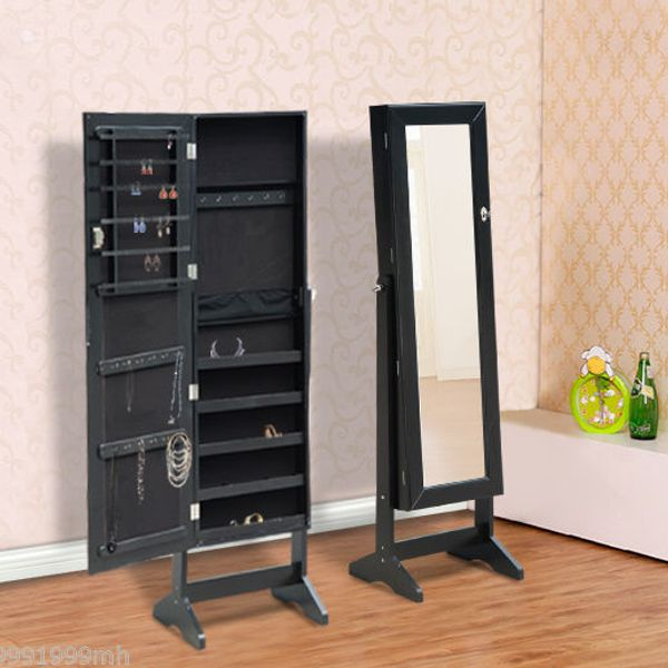 HOMCOM Standing Mirror Jewelry Armoire Cabinet Stand Display Storage Organizer for Rings Earrings Bracelets Lockable Black   Aosom Canada