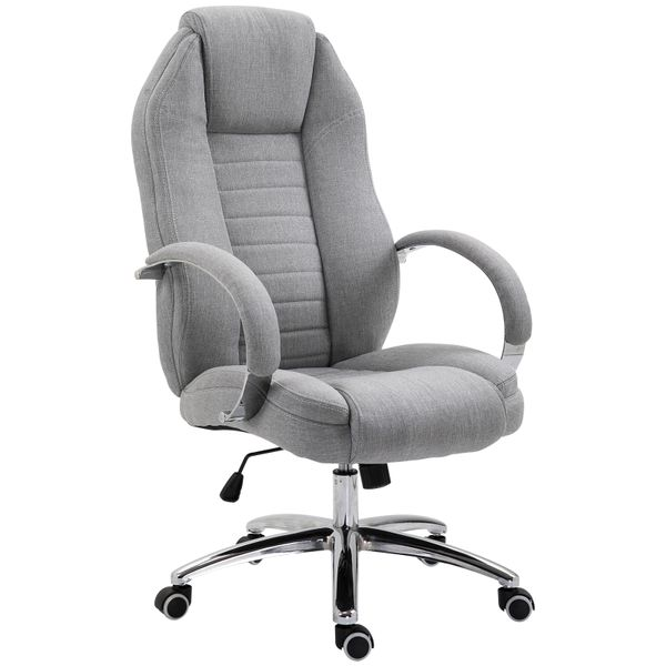 Vinsetto Office Chair Ergonomic Design Linen Surface Foam Padded w/ Adjustable Height & Armrest Gray|AOSOM.CA