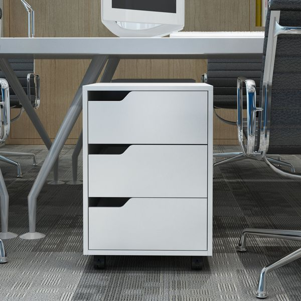 HOMCOM MDF Mobile File Cabinet pedestal with 3 Drawers Lockable Casters for Home Office White