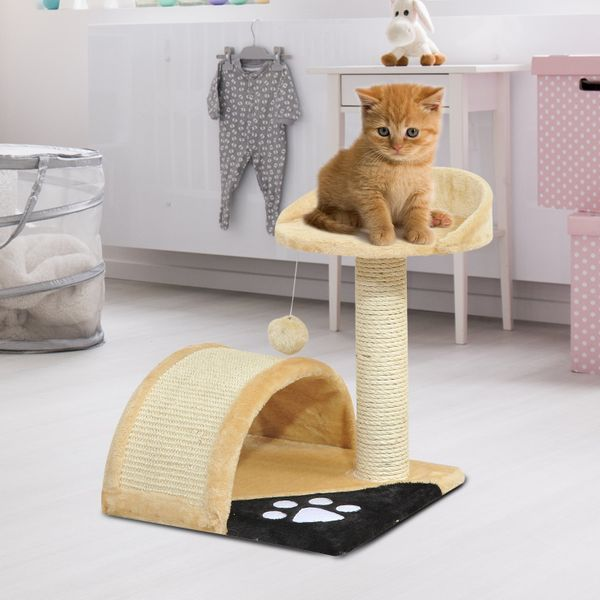 """PawHut 17"""" Cat Scratching Tree Kitty House Kitten Activity Centre Pet Bed Post Furniture with Hanging Toy (Beige)   Aosom Canada"""