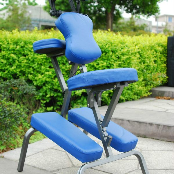 """Homcom 3"""" Foam Portable Massage Chair Professional Luxury Faux Leather Seat with Carry Bag Beauty Tattoo Facial Spa Health Chair Blue 