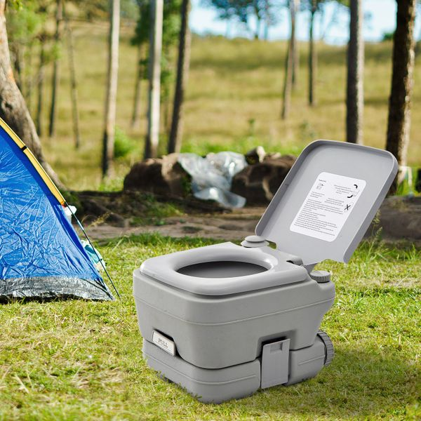 Outsunny HomCom Portable Travel Camping Toilet Outdoor Hiking - 2.8 Gallon Hilking New | Aosom Canada