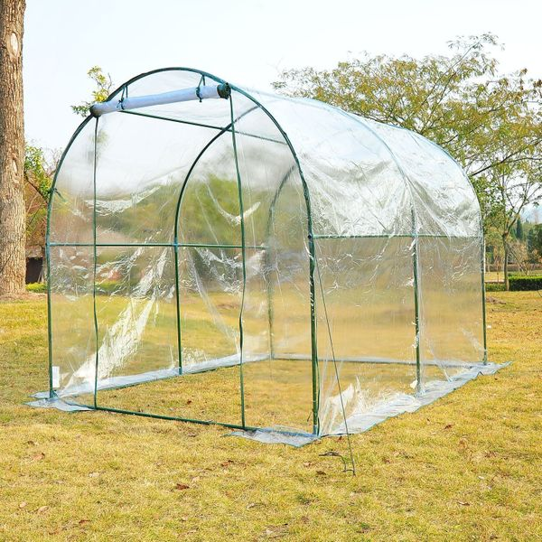 8' x 6' Transparent Greenhouse - Easy Set Up & Storage - Plastic/Metal/PVC | Aosom Canada