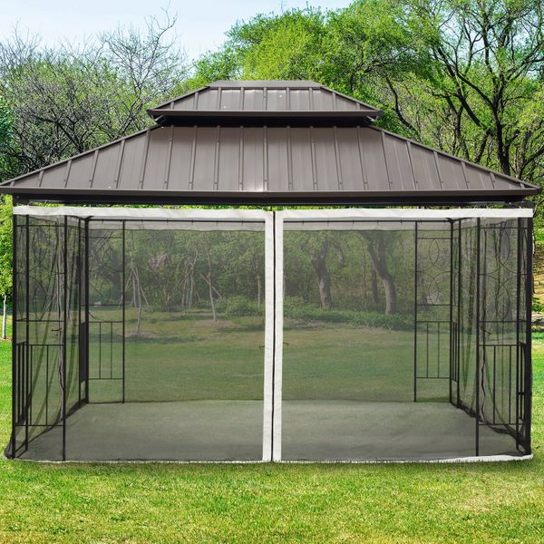 Outsunny Replacement Mosquito Netting for Gazebo 10' x 12' Black Screen Walls for Canopy with Zippers for Parties and Outdoor Activities Universal Adjustable Solid|AOSOM.CA