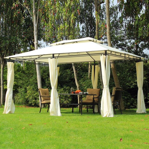 Outsunny 13x10 2-Tiers Gazebo Sun Shade Party Tent Patio Canopy Garden Shelter with Curtains Cream|Aosom Canada
