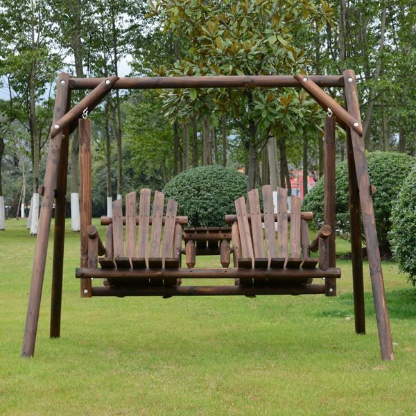 Outsunny Wooden 2-Seat  A-Frame Porch Swing Rustic Patio Bench Outdoor Furniture  w/ Table Seat | Aosom Canada
