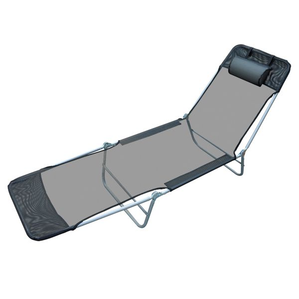 Outsunny Adjustable Reclining Beach Sun Lounge Chair - Black|Aosom.ca