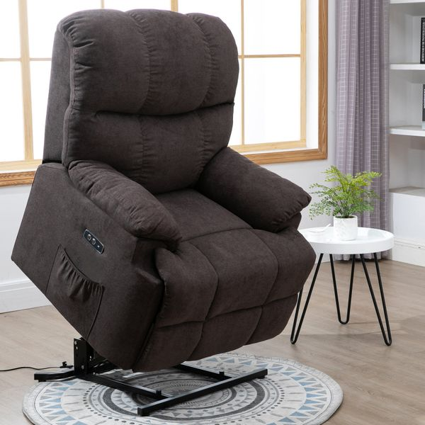 HOMCOM Electric Power Recliner LIft Chair Over Padded Plush Fabric with USB Charger|AOSOM.CA