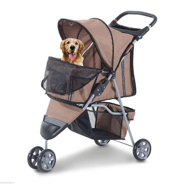 PawHut 3 Wheel Folding Dog Pet Cat Stroller Carrier Carrying Cart with Brake and Canopy Coffee|Aosom Canada