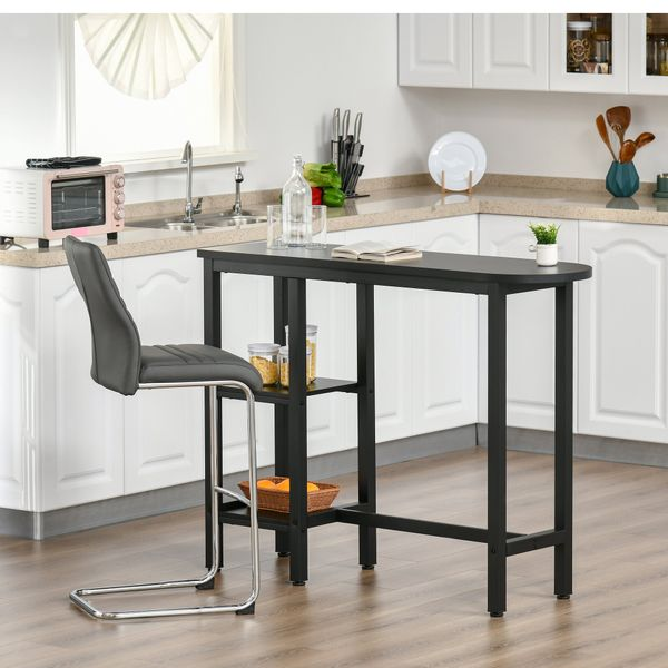 HOMCOM Modern Bar Table Pub Table Accent Console Serving Buffet with Side Storage Shelf & Metal Frame, Black