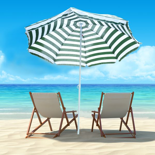 Outsunny 6ft Round Beach Umbrella Outdoor UV Protection Sun Shaded Canopy w/ Push Button Tilt Striped Green