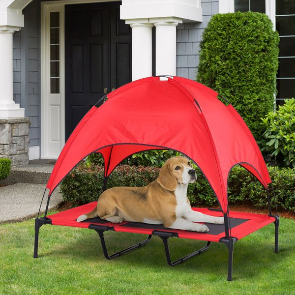 PawHut Elevated Pet Bed Dog Foldable Outdoor Cot Red