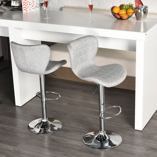 HOMCOM 2 Pieces Bar Stools Adjustable Height Counter Chair with/ Footrest for Home Pub Grey Dining | Aosom Canada