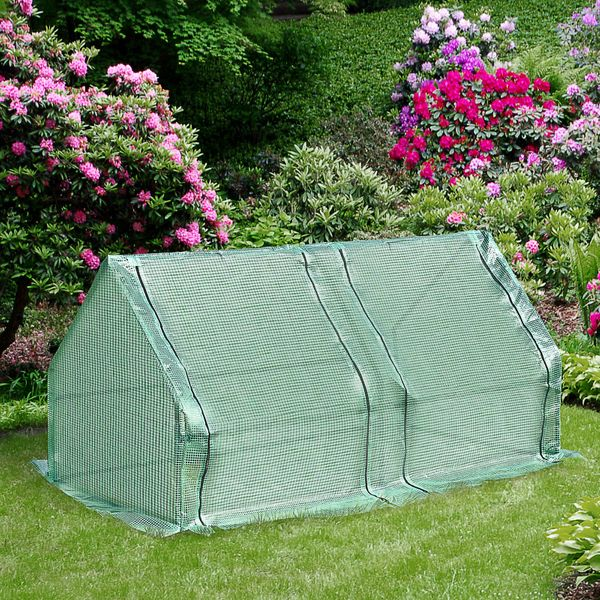 Outsunny Walk-in Plant Greenhouse zippered 2 large doors roll-up|AOSOM.CA