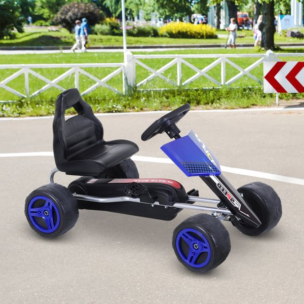 Aosom Kids Pedal Go Cart Children Ride On Car Karting Kids Children Cars Racing Style Ride On Car Outdoor Racer Blue | Aosom Canada