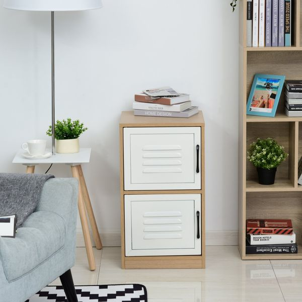 Vinsetto 2-Tier File Cabinet Home Office Storage Cabinet Storage Organizer with Multiple Shelves 2-Drawer Wooden Steel Metal Vertical File Cabinet Natural White 2 Drawers | Aosom Canada