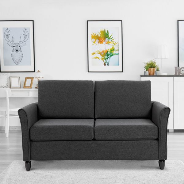 HOMCOM Double Seat Sofa 2 Seater Compact Loveseat Couch Linen Upholstery Armrest Living Room Furniture | Aosom Canada