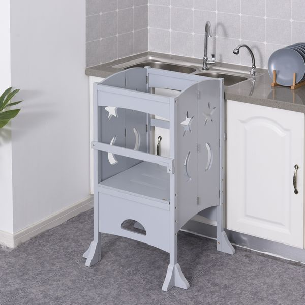 Qaba Step Stool with Safety Rail and Support Handles Kitchen Counter Step-up Helper