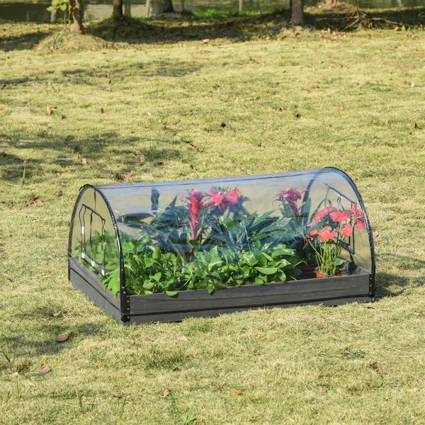 """Outsunny 12 Grids Garden Bed Planter Kit Box with Greenhouse with 2 Roll Up Windows Dual Use, Outdoor, PVC Cover, 47"""" x 31"""" x 21"""""""