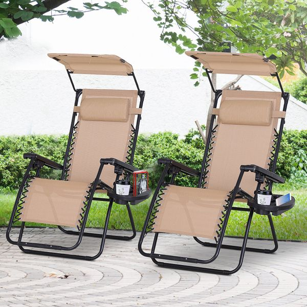 Outsunny 2 piece Zero Gravity Chair Adjustable Patio Lounge Chair Reclining Seat W/ Cup Holder & Canopy Shade Piece Beige | Aosom Canada