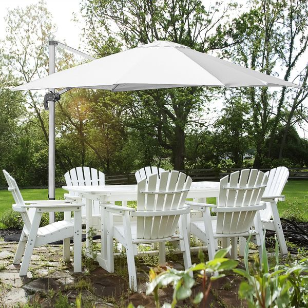 Outsunny 3 x 3m Patio Offset Parasol Umbrella Cantilever Hanging Sun Shade Canopy Shelter 360° Rotation with Stand 3M Rotate White | Aosom Canada