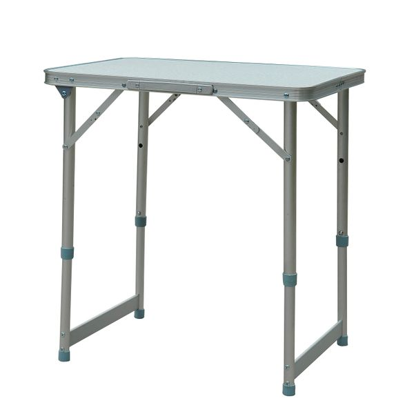 Outsunny Folding Adjustable Patio Picnic Table Portable Camping Dining Lunch Table Aluminum Frame Silver | Aosom Canada