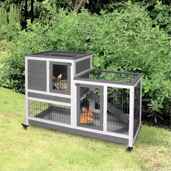PawHut Wooden Indoor Rabbit Hutch Elevated Cage Habitat with Enclosed Run with Wheels, Ideal for Rabbits and Guinea Pigs, Grey and White