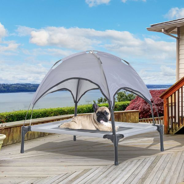 """PawHut Elevated Portable Dog Cot Cooling Pet Bed With UV Protection Canopy Shade 30 inch 30"""" w/ - Grey   Aosom Canada"""