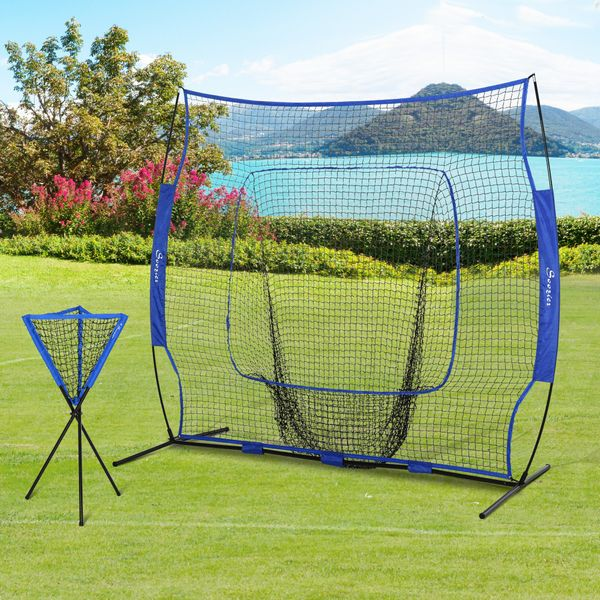 Soozier 7x7.5ft Portable Baseball Net Set of 2 w/Collector and Storage Bag for Daily Train  Kids and Adults | Aosom Canada