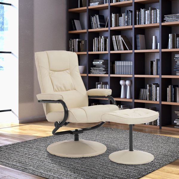 HOMCOM Contemporary Recliner Chair and Ottoman Set Swivel Armchair with Wrapped Base armrests headrest and interior padding?Cream | Aosom Canada