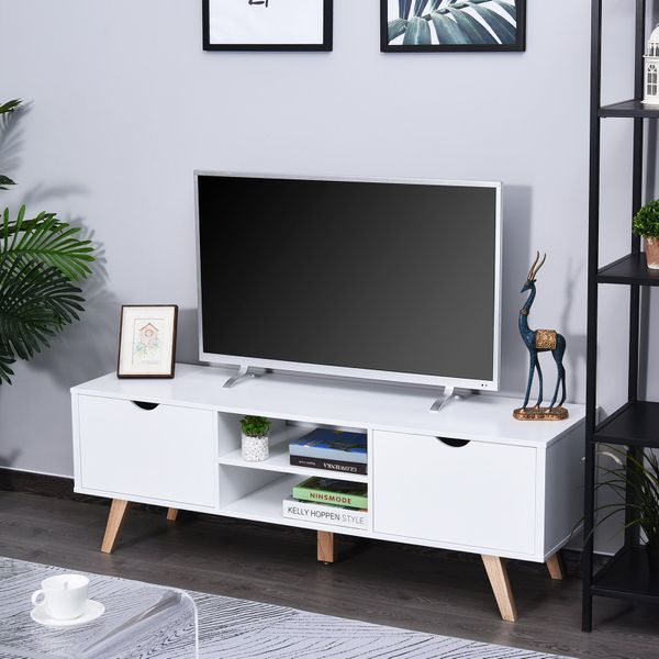 """HOMCOM Modern Wooden TV Stand with 2 Storage Cabinet Stand for TV's up to 65"""" for Living Room Office, Storage Entertainment Center, White"""