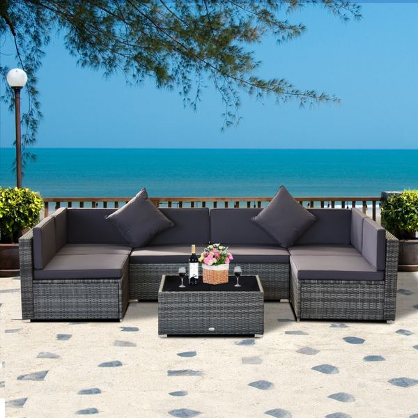 Outsunny 7pc Garden Wicker Sectional Set w/ Tea Table Patio Rattan Lounge Sofa  with Cushion Outdoor Deck Furniture All Weather Grey Pieces | Aosom Canada