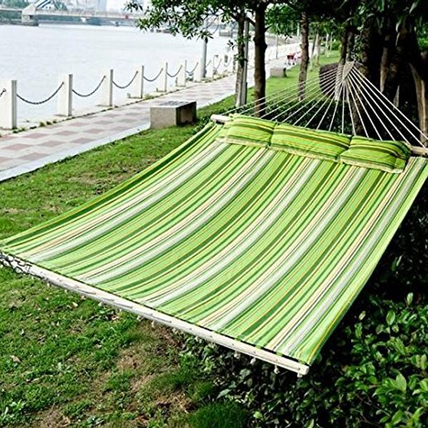 "Outsunny 75"" Fabric Hammock w/ Pillow - Green/White/Yellow 