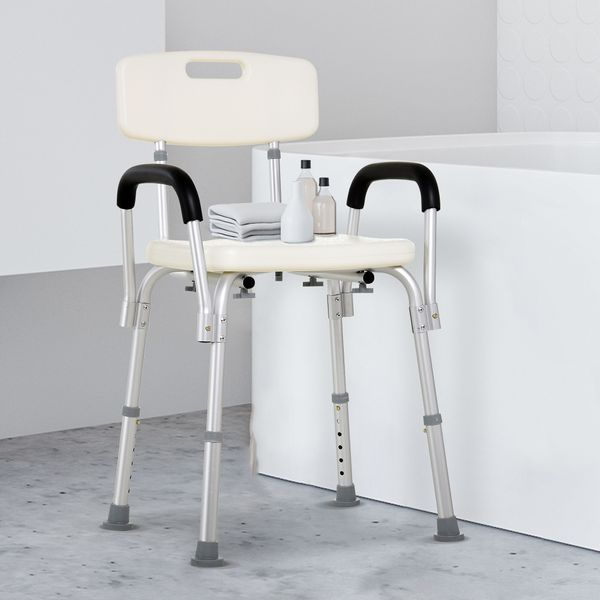 HOMCOM Adjustable Medical Shower Chair Bathtub Bench Bath Seat with Arms and Backrest