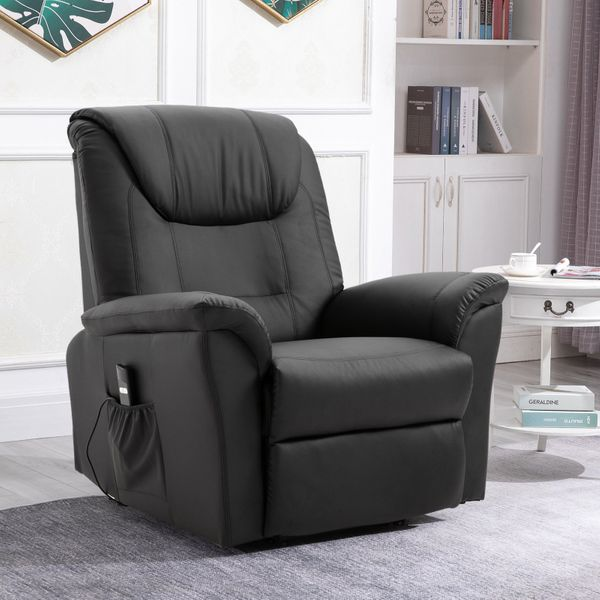 HOMCOM Recliner Chair, Leather Recliners for needed, Home Sofa Chairs with Heat & Massage, Remote Control Black | Aosom Canada