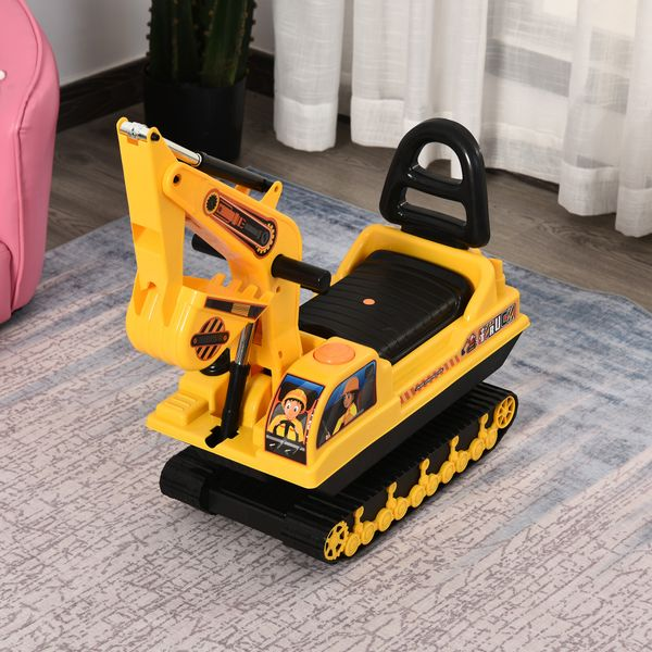 HOMCOM/Qaba Ride On Excavator Toy Tractors Digger Movable Scooter Walker Pretend Play Toddler Construction Truck Basket Storage For Boys Girls 3-8 Years Old Yellow Black Yrs | Aosom Canada
