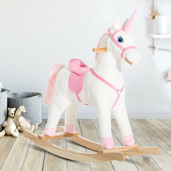 Qaba Kids Plush Toy Rocking Horse Unicorn with Realistic Sounds | Aosom Canada