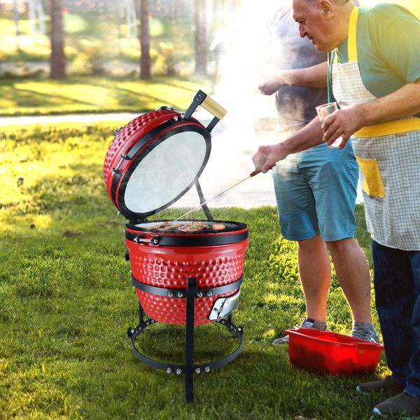 Outsunny Enamel BBQ Charcoal Grill Barbecue Cooking System Standing Smoker Heat Insulation  Red Cast Iron Picnic Control   Aosom Canada