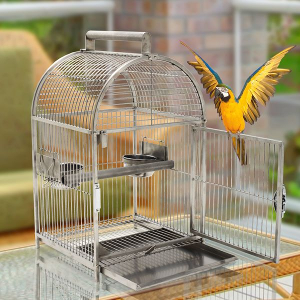 "PawHut 25"" Bird Carrier Cage Parrot Macaw Cockatiel Travel Cage Stainless Steel Dome Top with Two Feed Bowls