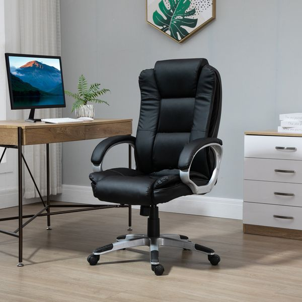 Vinsetto High Back Executive Office Chair Adjustable Ergonomic Desk Seat Swivel PU Leather Computer Office Chair with Padded Armrests Managerial   Aosom Canada