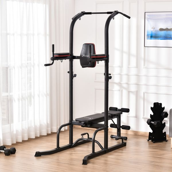 Soozier Multi-Function Training Stand Power Tower Station Gym Workout Equipment WIth Sit Up Bench, Pull Up Bar, Black