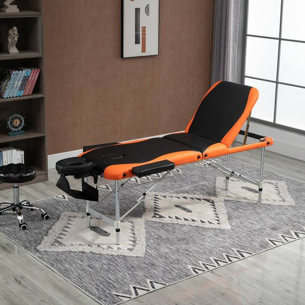 """HOMCOM 73"""" 3 Section Foldable Massage Table Professional Salon SPA Couch Bed"""