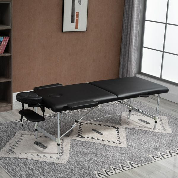 HOMCOM 2 Section Massage Table w/ Carry Case Adjustable Spa Facial Couch Table Black