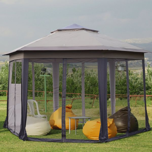 Outsunny Double Roof Hexagon Patio Gazebo with Netting|AOSOM.CA