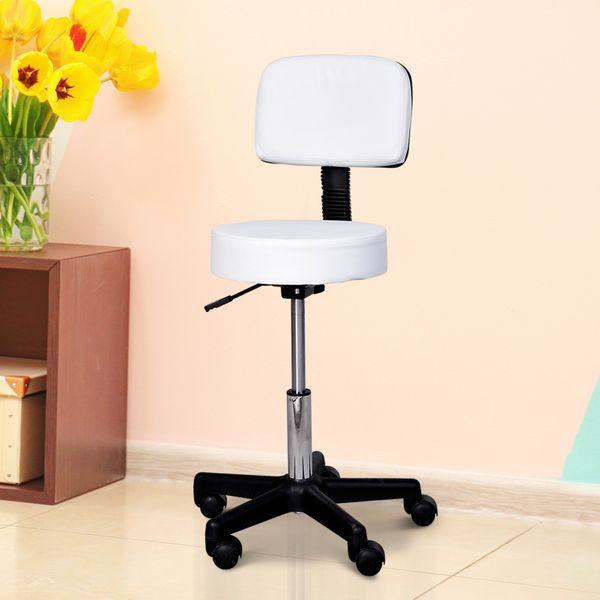 HOMCOM Swivel Salon Stool Chair with Back Support Height Adjustable Rolling Stool with Backrest for Beauty Barber Tattoo Drafting Medical, White